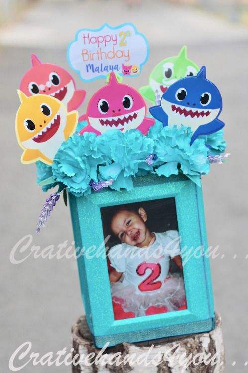 Baby Shark Centerpiece Shark Themed Birthday Party Shark Theme Birthday 2nd Birthday Party Themes