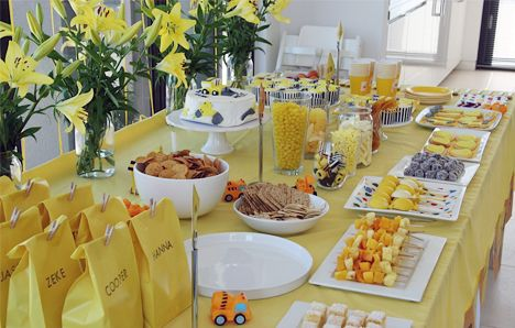#yellow + grey sweets table