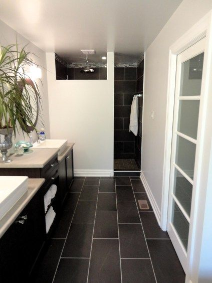 Bathrooms A L Abode: Black Tiles, Tile Flooring And Charcoal On Pinterest