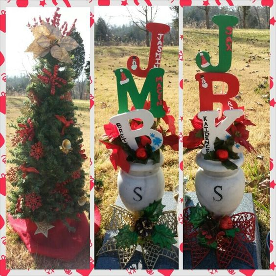 Decor christmas and christmas decor on pinterest for Grave decorations ideas