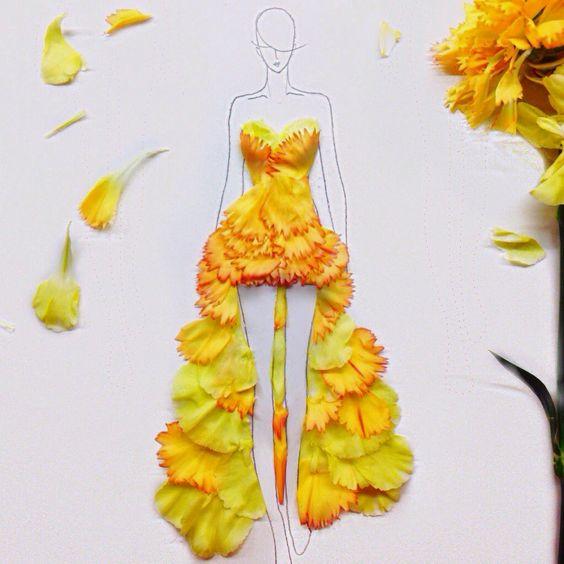 Desafio Criativo: Flores como elementos para desenhos de moda, por Grace Ciao