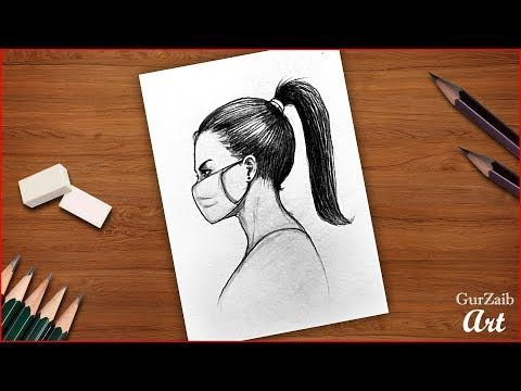 How To Draw A Girl Wearing Face Mask Easy Drawing With Pencil Step By Step Tutorial Youtube In 2020 Easy Drawings Drawings Warrior Drawing