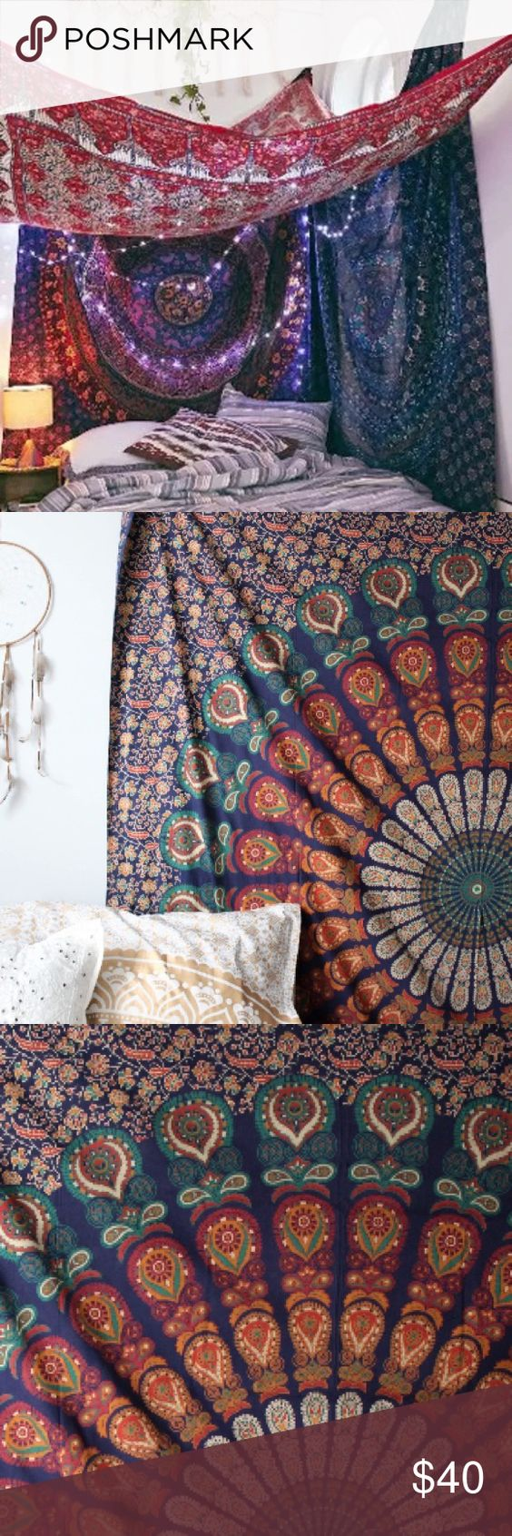 Mandala Tapestry Blue , red, orange, peacock design, dark blue floral background , beautiful Other