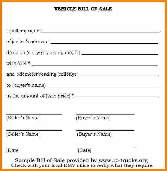 Automotive Bill Of Sale Template Bill Of Sale Template Bill
