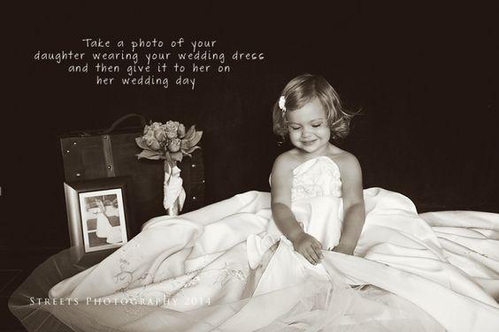 Children Photography, Daughter wearing mother's wedding dress ...