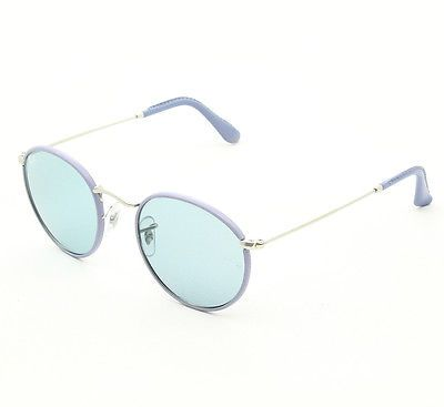 ray ban round sunglasses leather  ray ban rb3475q round leather sunglasses 019 62 purple w sky blue lenses 50mm