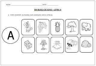Atividade Em Busca de Sons - Pinte as Figuras que Começam com a Letra A