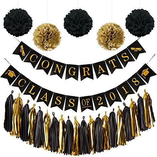 Congrats Class Of 2018 Graduation Banner Black Gold Graduation