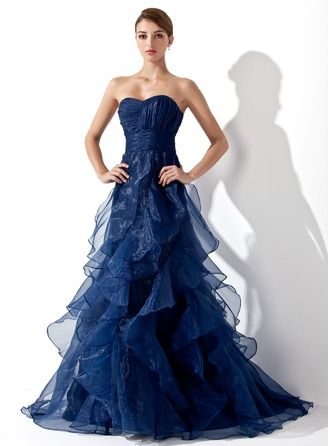 Vestidos princesa/ Formato A Coração Sweep/Brush trem Organza de Vestido de baile com Babados em cascata