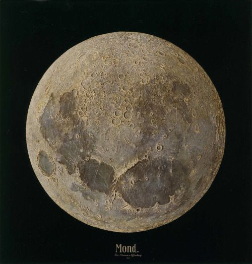 ulius Grimm, Mond, depiction of the surface of the full moon, 1888. Oil on canvas. Germany.  Grimm was a scientific photographer and Hofphotograph to the Baden court, whose contribution was in the field of astronomy and selenography (the study of the moon and its surface). The painting was done 81 years before man set foot on its much-studied surface. Via CarltonHobbs