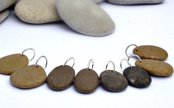Top Drilled beach stone beads Top drilled by EvasBeachStones