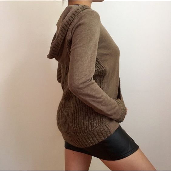 Sweater hoodie Warm brown unique hoodie with a sweater back. Extremely warm and cozy hardly worn! Great detailing. Brand is Aeropostale. Urban Outfitters Sweaters