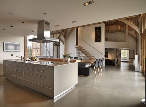 Eco barn conversion in vale of the white horse bulthaup for Modern barn kitchen