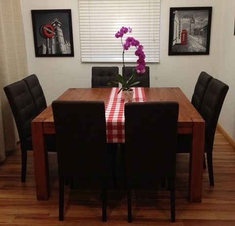 Dining room 8 seater square heavy dining table eco for Dining room tables 8 seater