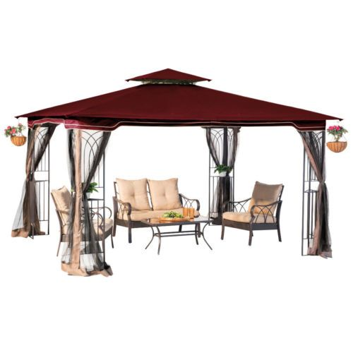 10 X 12 Outdoor Hardtop Polycarbonate Roof Patio Gazebo W Netting Metal Frame Hardtop Gazebo Patio Gazebo Patio