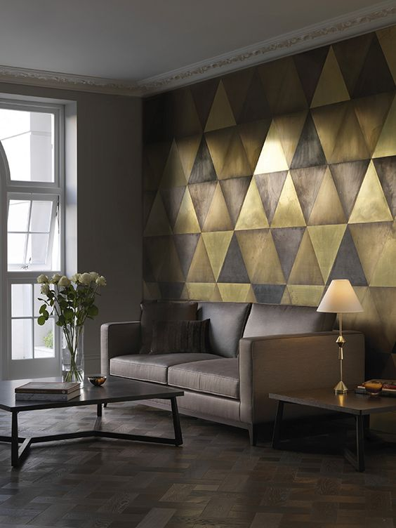 maya wall tiles brass semi brass dark brass and bronze triangular tiles i like the idea of metal wall tiles