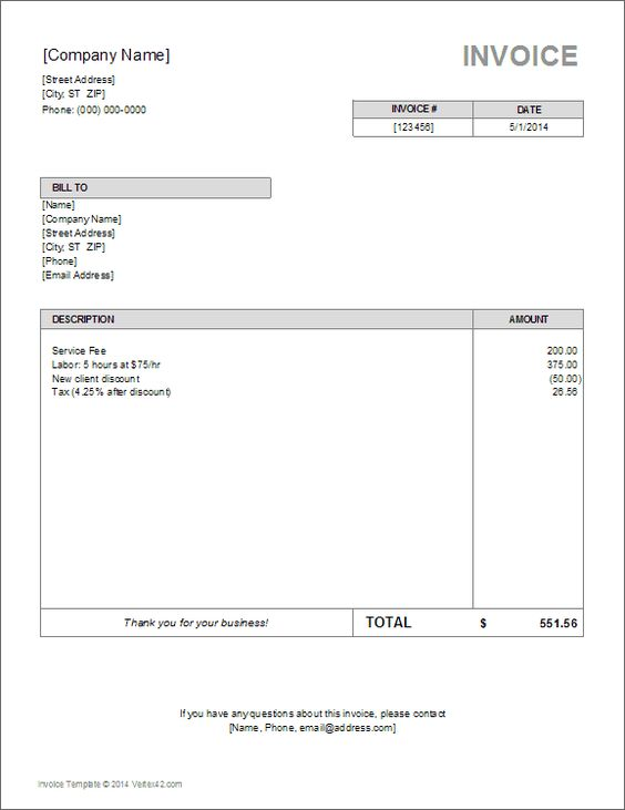 download the basic invoice template from vertex42 com m pinterest