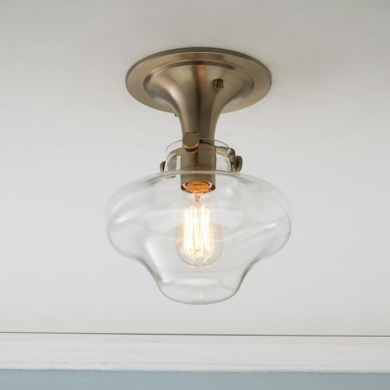 modern clear schoolhouse globe ceiling light 4 finishes ceiling lighting kitchen contemporary pinterest lamps transparent