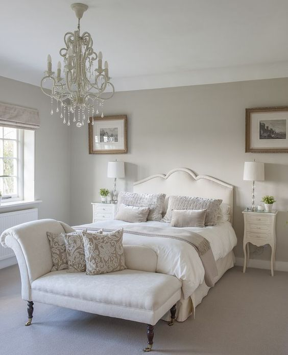 French Country Bedroom Decor Neutral Tone Bed Room White Linen