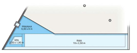 Pastilhas de vidro de duas cores (Jatobá) revestem o tanque. O azul-escuro demarca a área rasa, com 30 cm de profundidade, que serve de prainha. A raia, com 1,50 m, e o spa, com bancode 60 cm, receberam um azul mais claro. Toda a borda é de fulgê