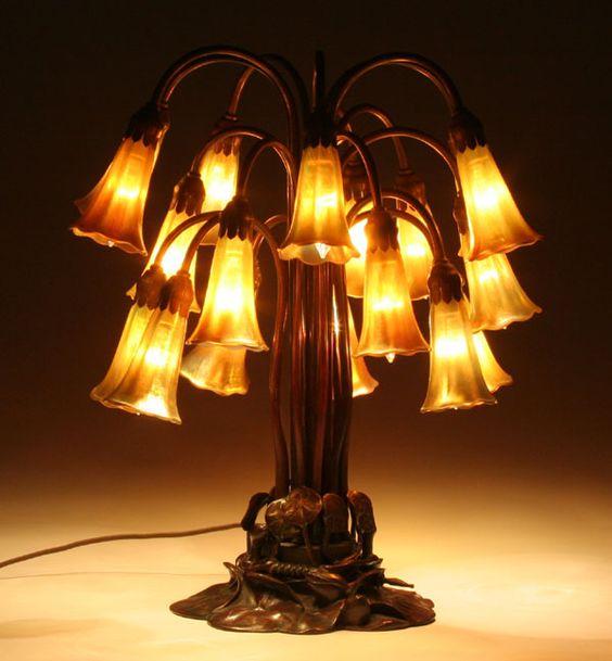 Tiffany Favrile Glass/Bronze 18-Light Lily Lamp