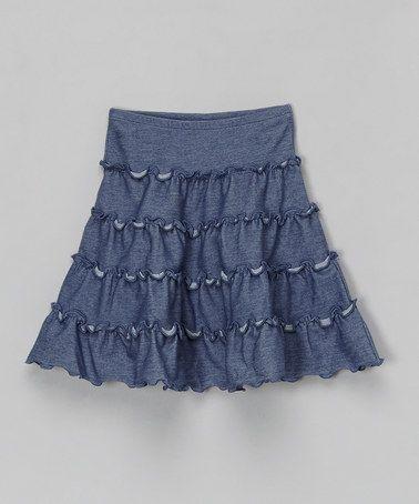 Another great find on #zulily! Blue Denim Tiered Skirt - Toddler & Girls #zulilyfinds