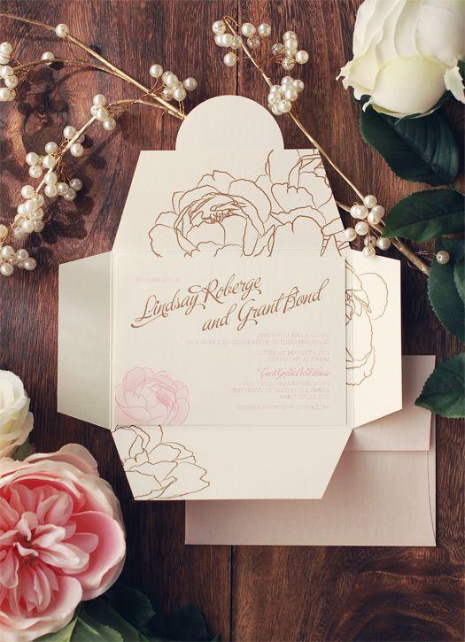 Custom Wedding Invitations : Romantic Watercolour Style : Lindsay + Grant :  Inside Of The Invitation