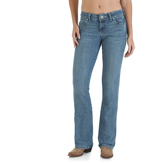 Wrangler Women's Jeans Premium Patch Mae Low Rise Jean  (Size ($59) ❤ liked on Polyvore featuring jeans, sn wash, women, wrangler jeans, 5 pocket jeans, boot cut jeans, blue jeans and patching blue jeans