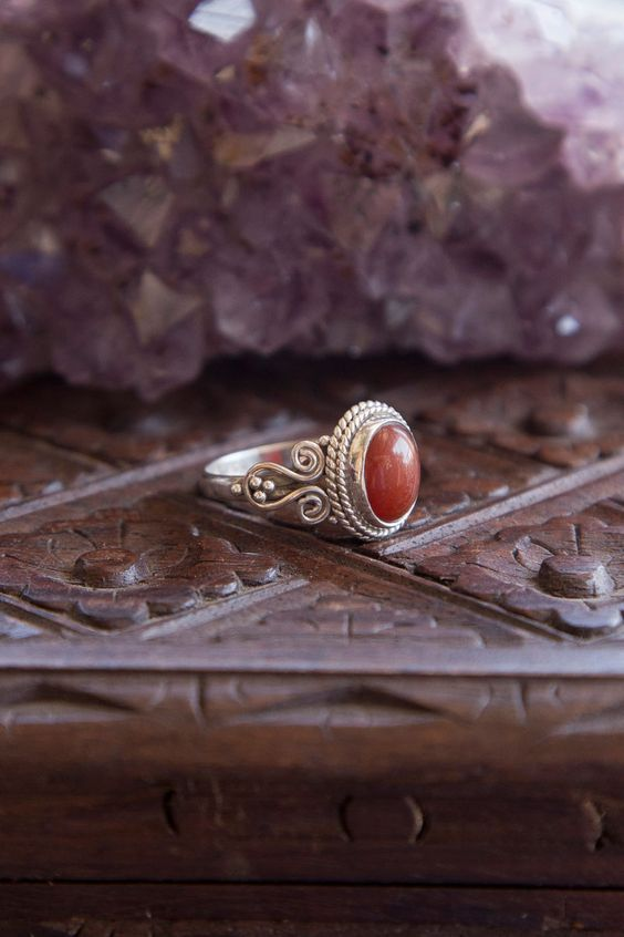 Red Onyx Ring - Tree of Life