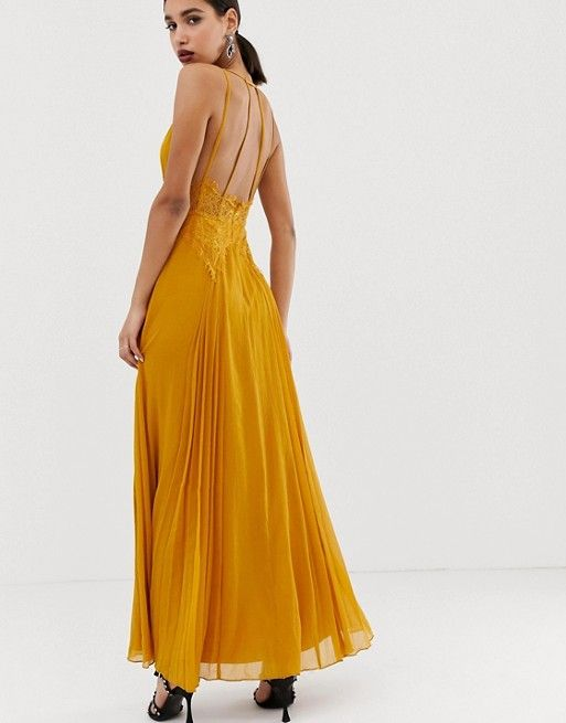 Asos Design Cami Maxi Dress In Crinkle Chiffon With Lace Waist And Strappy Back Detail Asos Cami Maxi Dress Maxi Dress Mxi Dress
