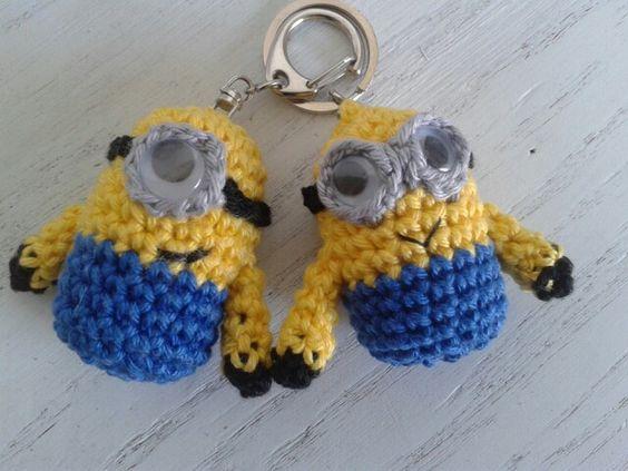 Minion sleutelhanger haken. Crochet minion keychain ...