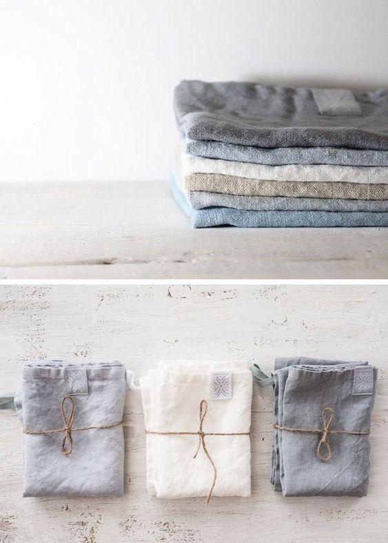 beautiful linen towels in neutral color palette