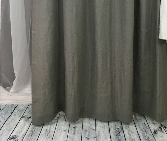 Gray Linen Shower Curtain With Images Grey Linen Curtains Curtains Linen Curtain Panels