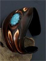 Natural Leather and Turquoise Cuff Bracelet
