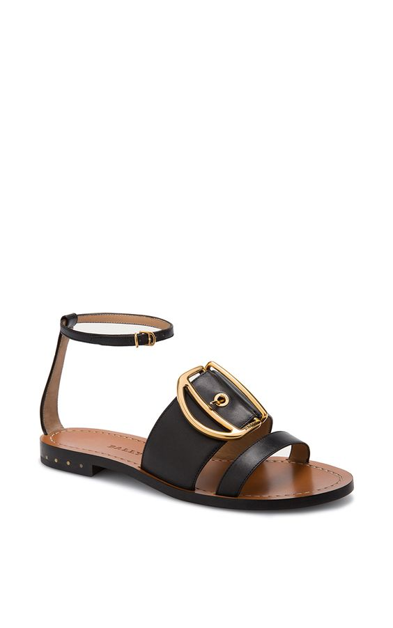 Leather Sandal In Black - Bally Resort 2016 - Preorder now on Moda Operandi: