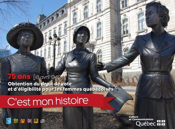 Il y a 75 ans, le 18 avril 1940, l'Assemblée législative (aujourd'hui Assemblée nationale) adoptait une loi accordant aux femmes québécoises le droit de vote et d'éligibilité. Cet événement est un moment important de la lutte pour l'égalité politique des femmes au Québec. Il est le résultat d'un long processus qui a commencé à la fin du 19e siècle et dont trois des principales protagonistes sont Marie Lacoste, Idola St-Jean et Thérèse Casgrain. #RPCQ #Cestmonhistoire