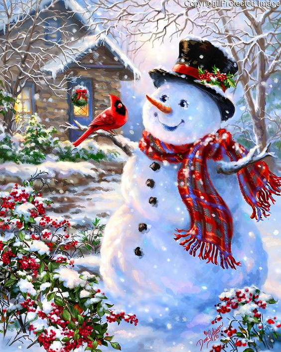 1312b - Snowman and Feathered Friend-playful face.jpg | Gelsinger Licensing Group: