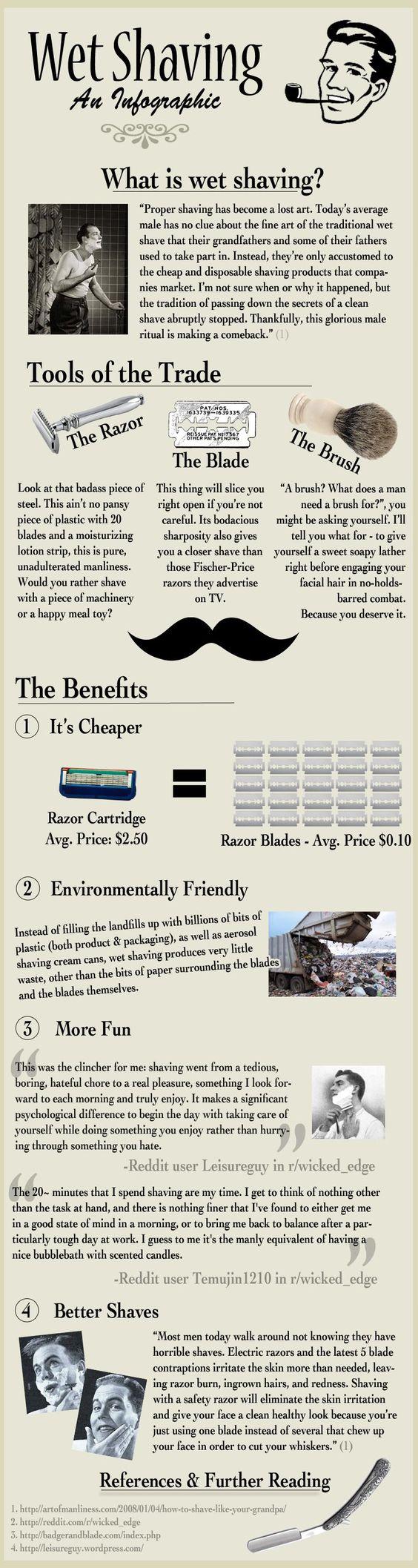 Men's Basics/Tips:  Wet Shaving.  ---> FOLLOW US ON PINTEREST FOR STYLE TIPS, MEN'S ESSENTIALS, OUR SALES ETC...~ VujuWear