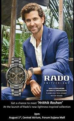 Meet Hrithik Roshan at the Launch of Rado's new lightness inspired collection at Forum Sujana Mall on 1 August 2016