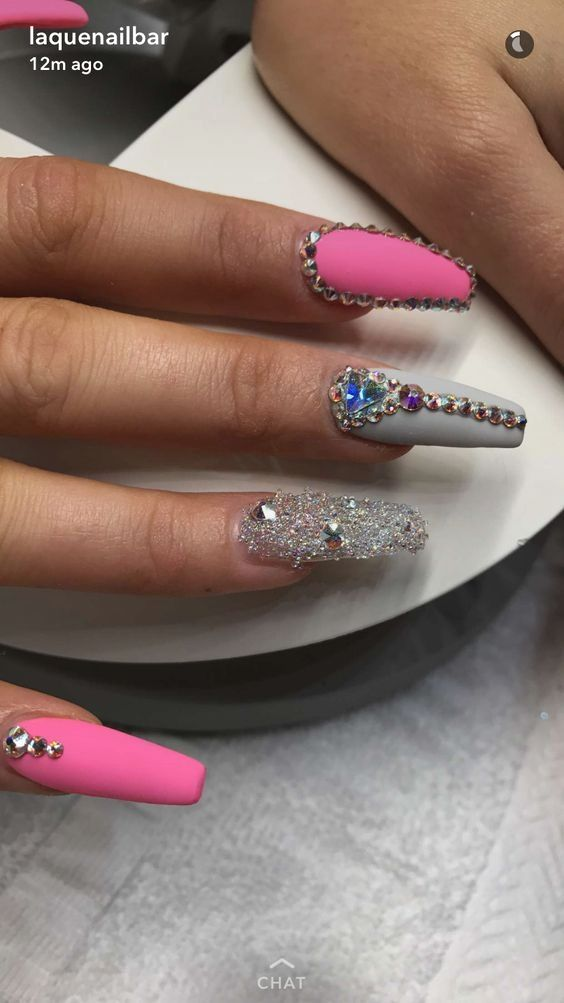 Coffin Nails Valentines Day Ideas Coffin Shape Nails Nails Design With Rhinestones Coffin Nails Designs