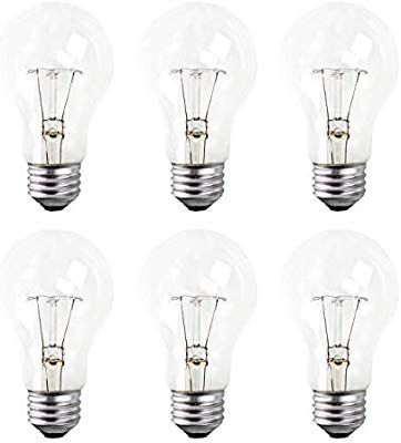 A19 Clear Incandescent Rough Service Light Bulb 60 Watt Long Life 10000 Hours 2700k Soft White E26 Medium Base 490 Lumens 130v 6 Light Bulb 2700k Bulb