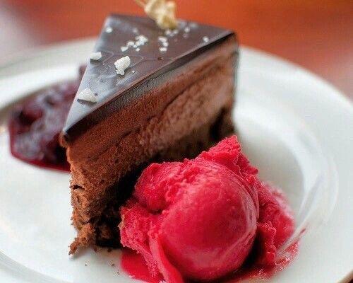 chocolate cake & ice cream