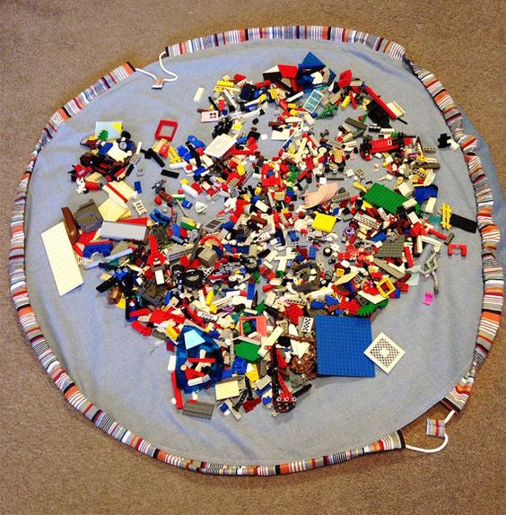 Portable Lego Play Mat / Round Baby Toy Storage Bag by AskLanaShop