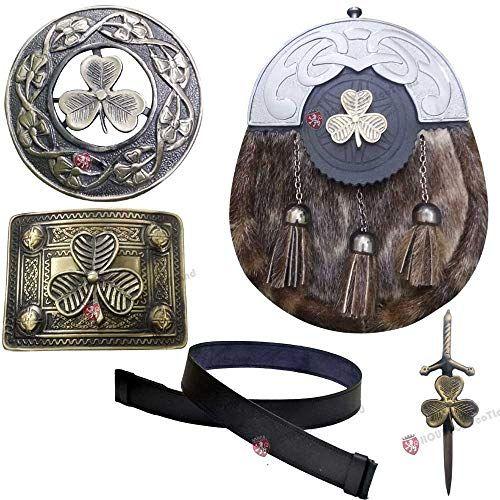 Black Cowhide Leather /& Metal Celtic Design Set for Kilt Sporran Chain Belt