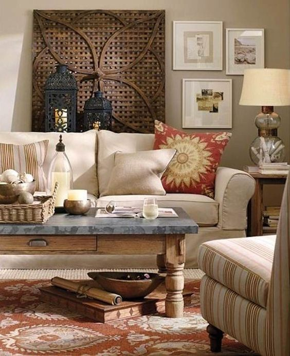 Arrangement above couch great home design pinterest - Traditional red living room ideas ...