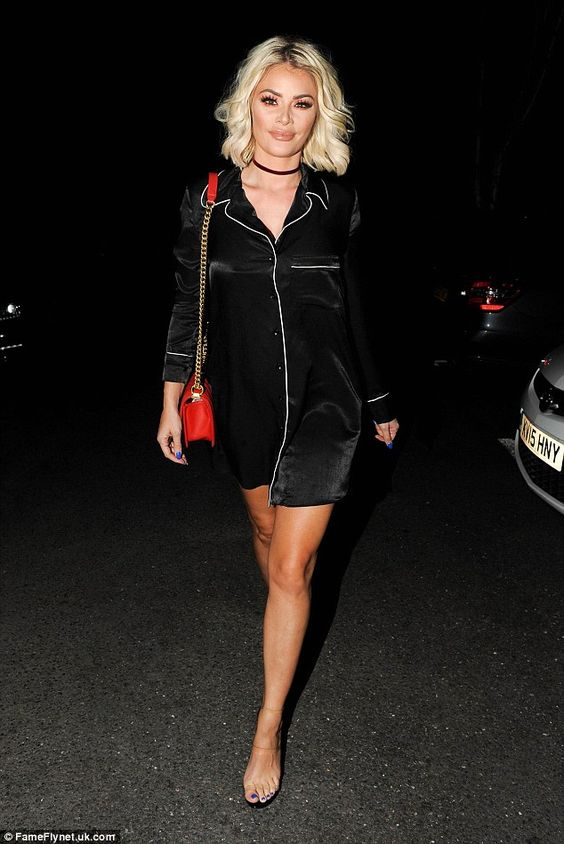 Chloe... Is that you?Chloe Sims seemed to do a U-turn with her usual clothes choices as she stepped out in a relatively modest pyjama-style dress for a night out at Essex hotspot Sheesh Chigwell on Wednesday