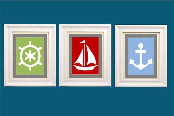 Nautical Nursery Wall Art Set of Three 8x10 by LittlePergola, $45.00