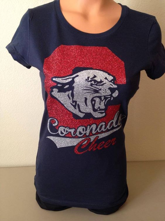 Here's a t-shirt we made for the Coronado Cougars Cheer team. We can make something like this for you too!  #glitter #vinyl #cheer #tshirts