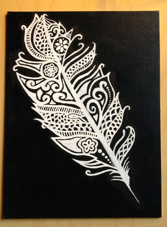 Black and white lace and tattoo inspired feather by for White lace tattoo