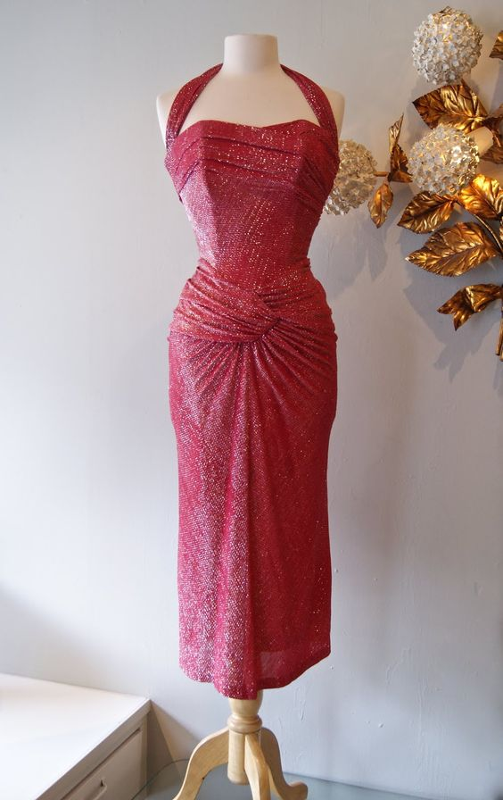 "Late 40's Lurex bombshell dress by Emma Domb, waist 26"", Amazing. 348."